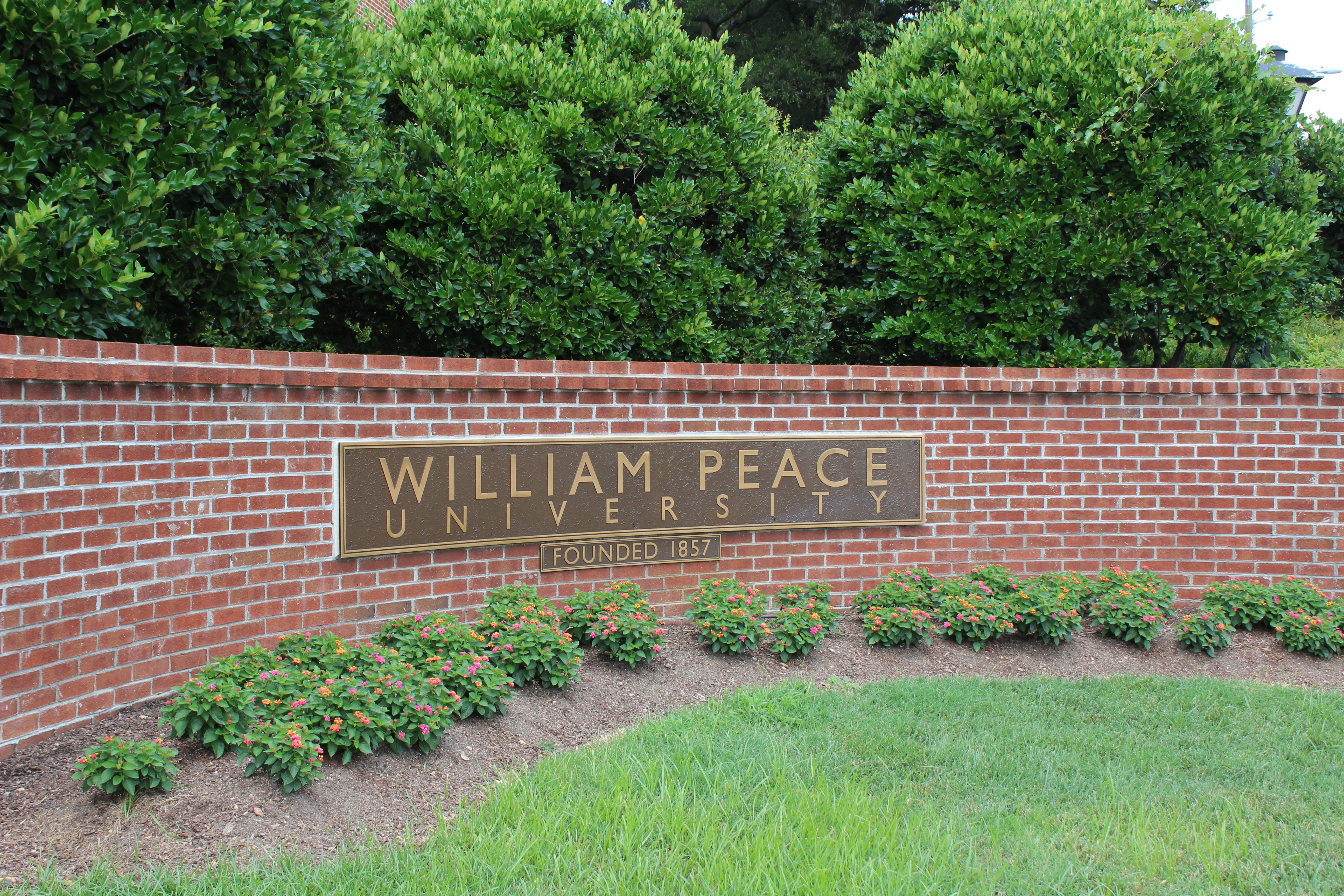 William Peace University entrance on Peace Street