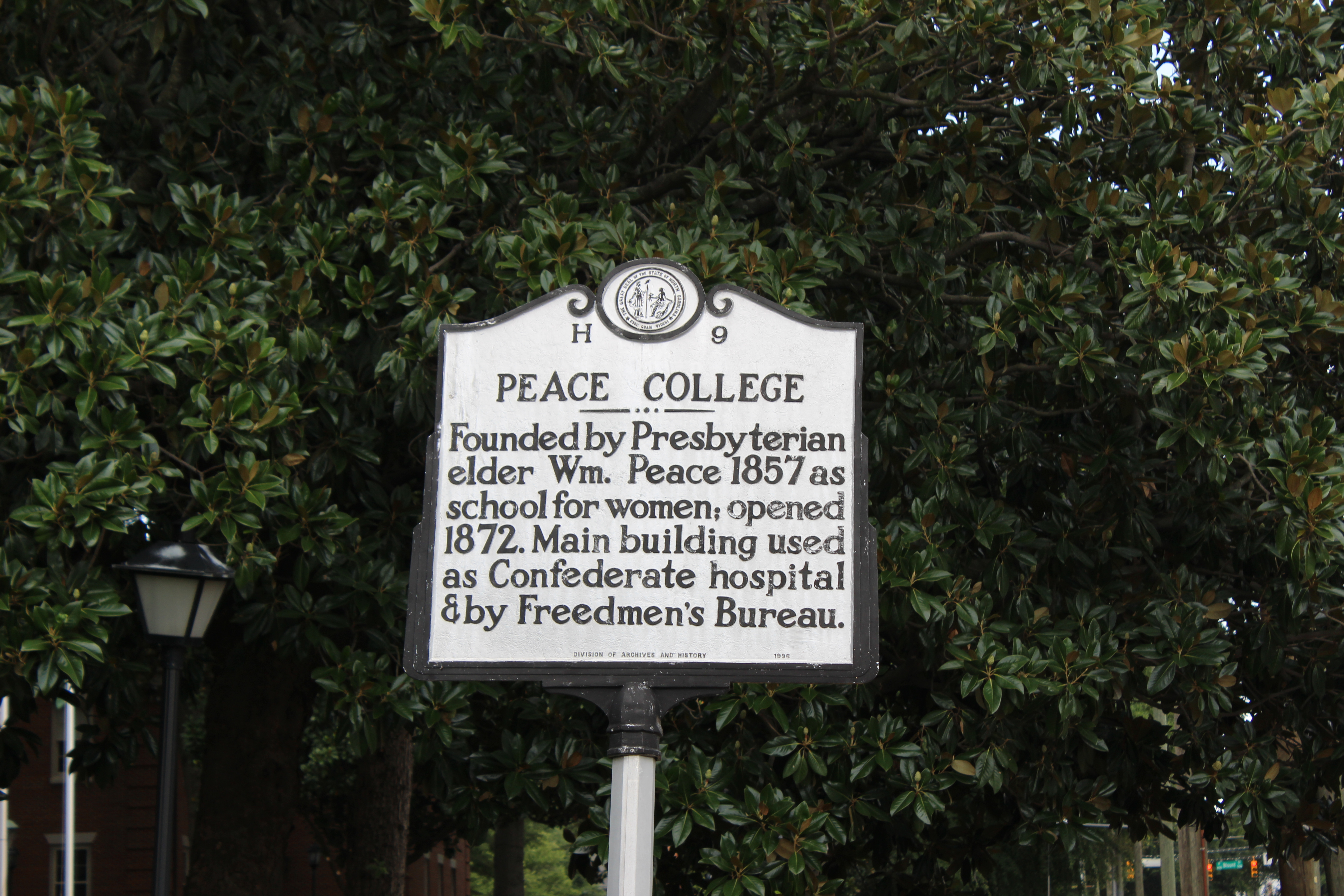 Historical marker on Peace Street