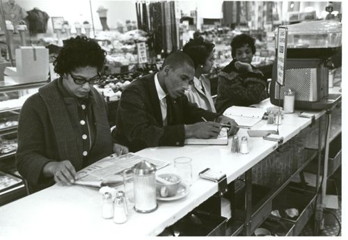 Students sit-in at the Woolworths in Cameron Village, February 1960.  http://www.newraleigh.com/articles/archive/black-history-month-the-woolworths-sit-ins/