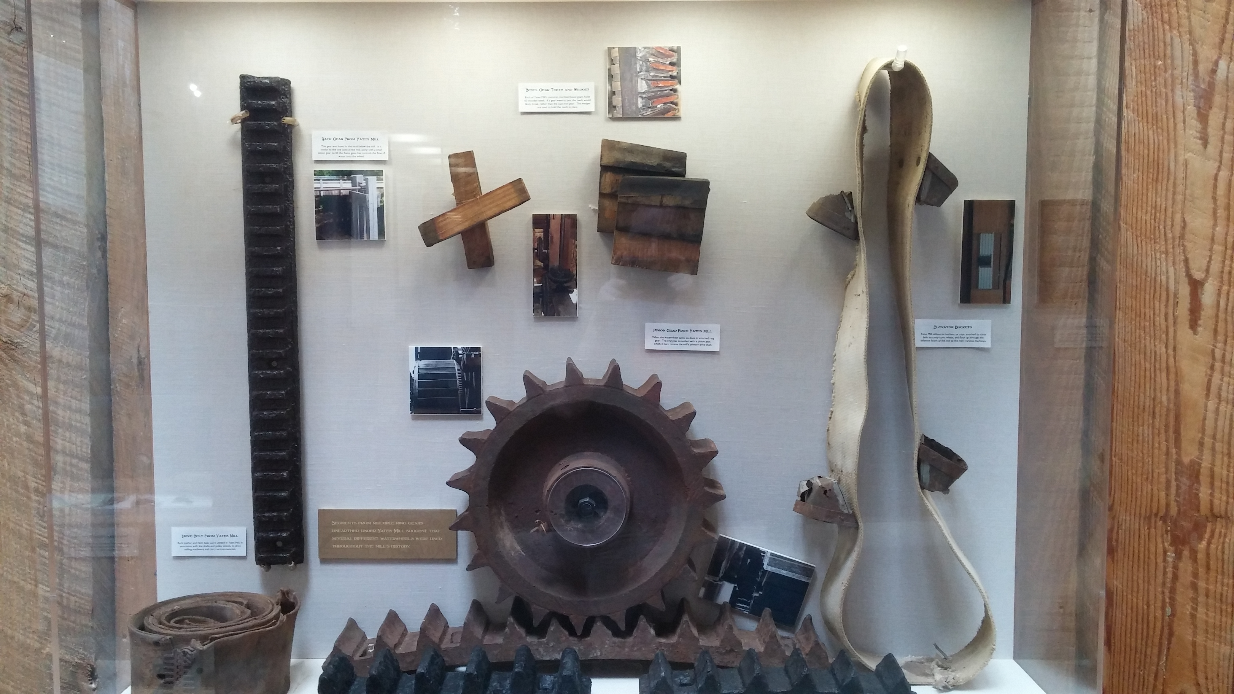 Gears and belts used at Yates Mill. Display located at the A.E. Finley Center.