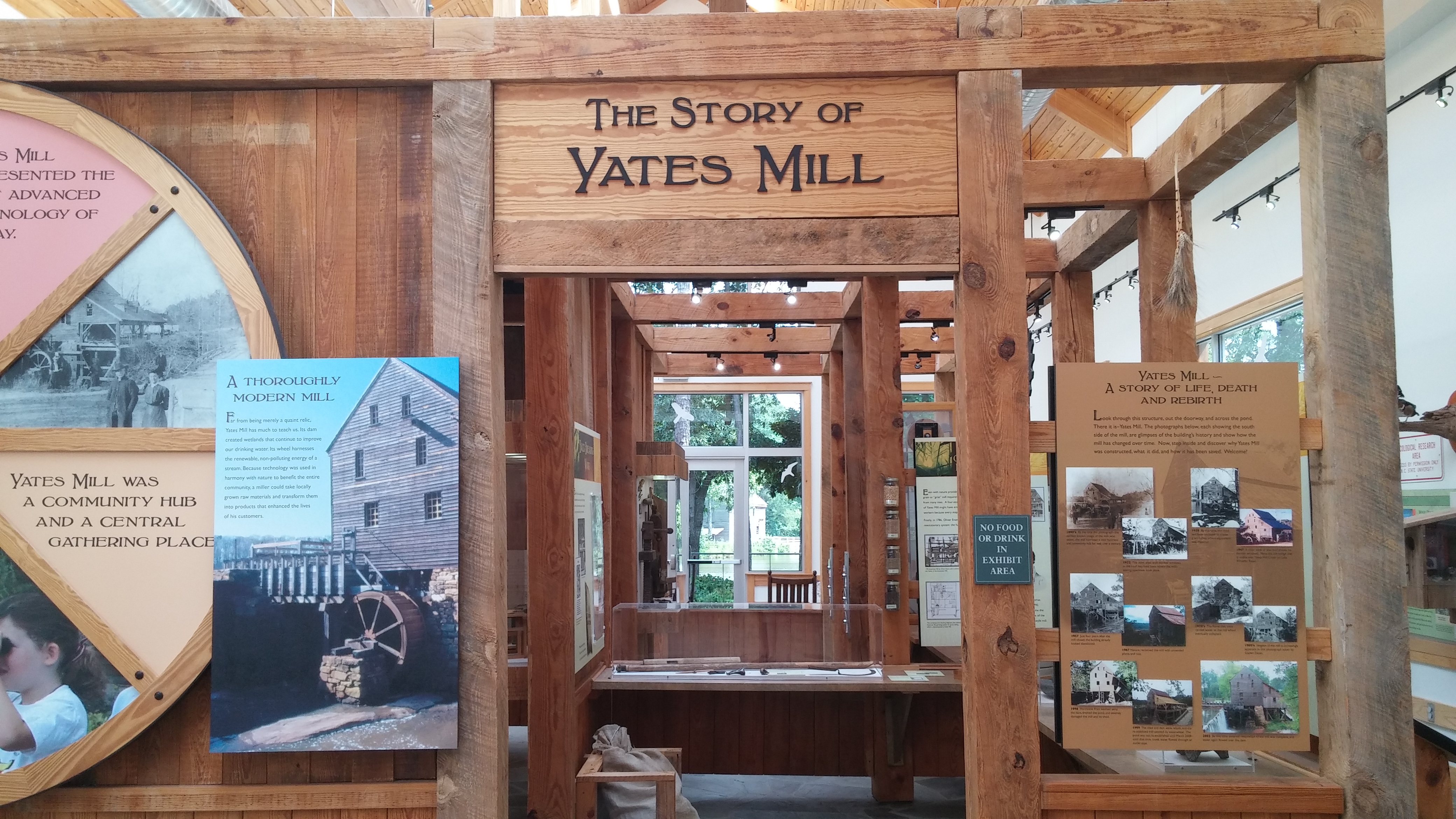 The entrance to the mill's museum, with the mill visible in the background.