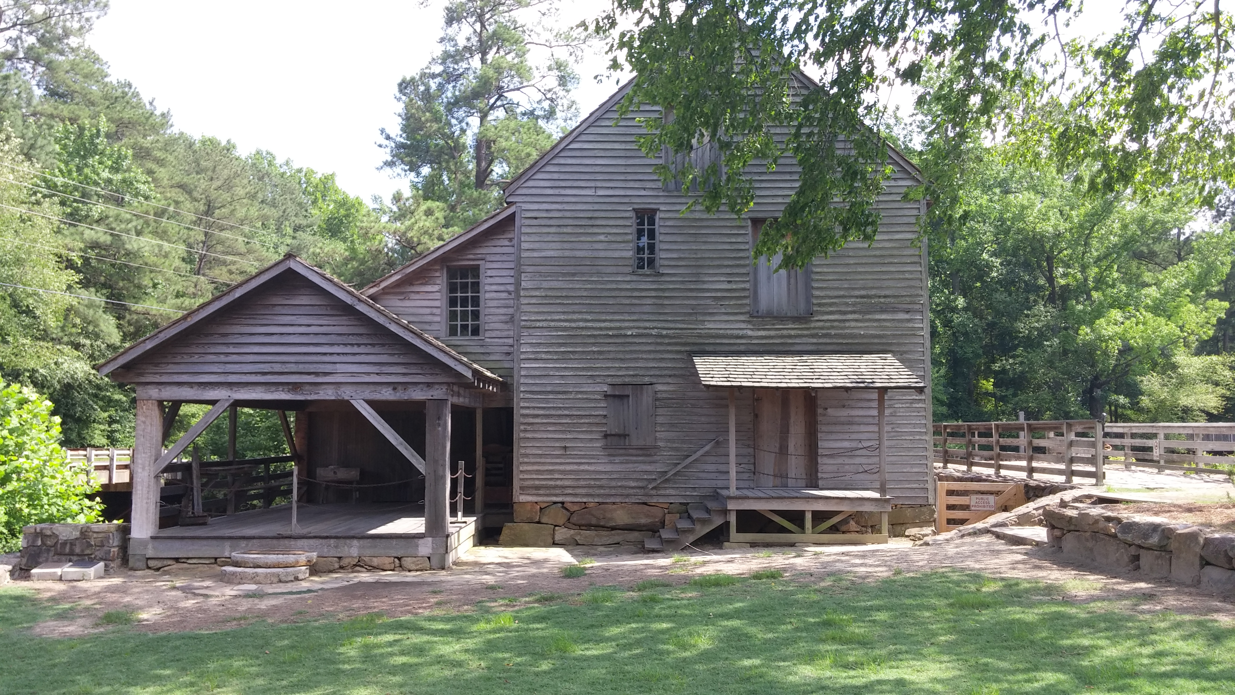 The entrance to the mill and outdoor work area.