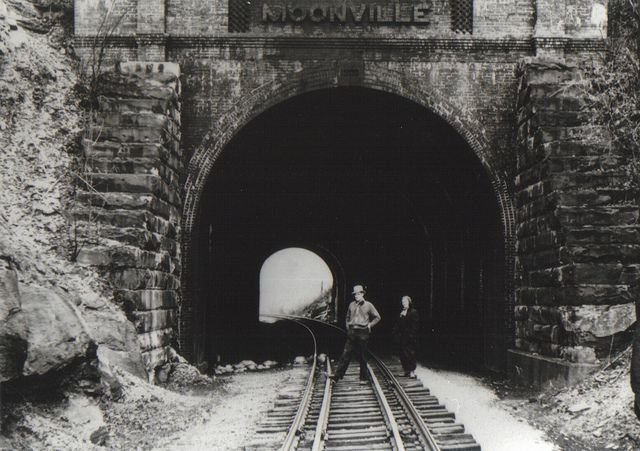 Western portal of the Moonville Tunnel is the early 1900s. Source of photo unknown.