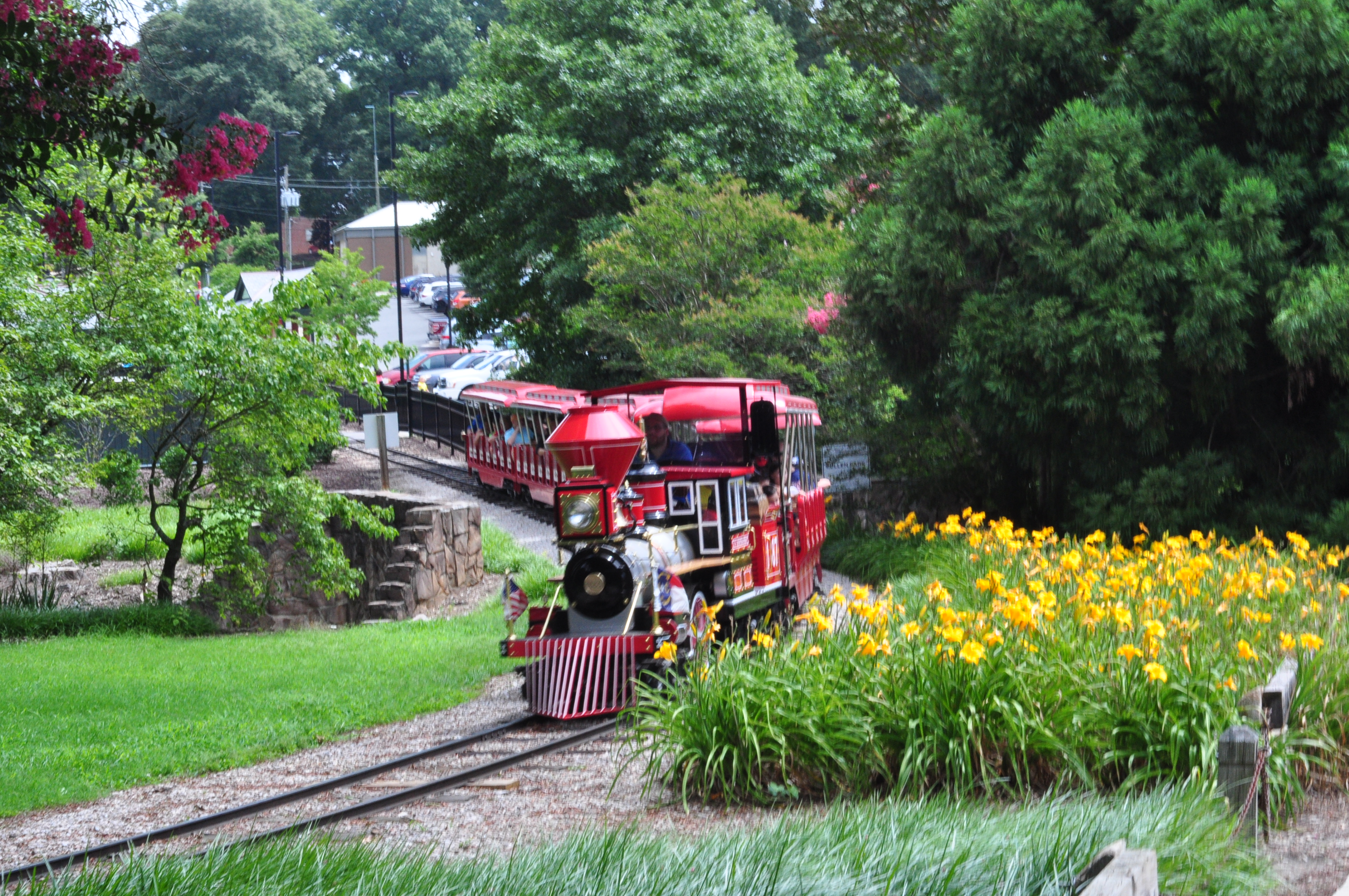 The miniature train of Pullen Park.