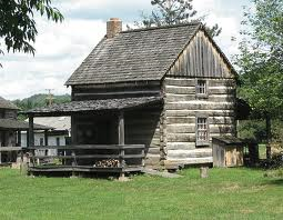 A log building located at Robbins Crossing. These buildings are originals from the 1850s era that were donated, relocated and reconstructed once they arrived at Robbins Crossing.