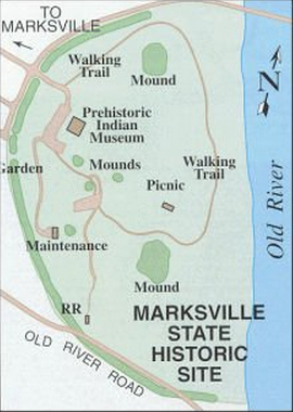 Map of the park showing the location of the mounds, museum, and trails