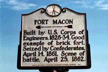 NC Historical sign of leading into Fort Macon