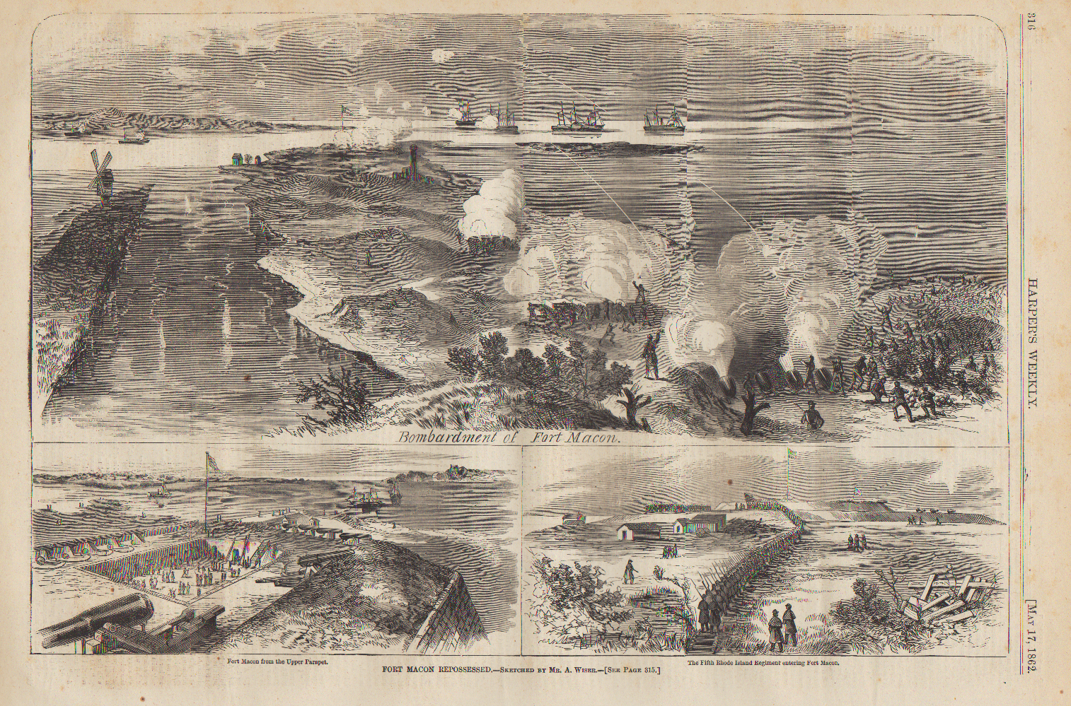 Bombardment of Fort Macon by Union forces: April 25, 1862