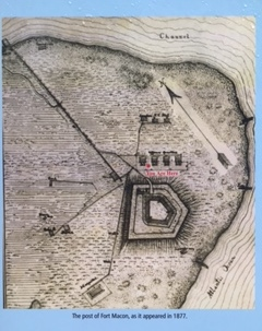 Rendering of Fort Macon as seen in 1877