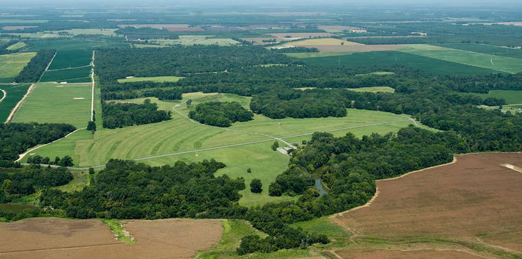 Aerial view of Poverty Point, with the concentric rings clearly visible