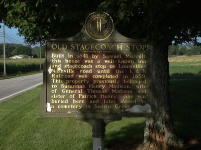 Historic marker for stagecoach stops in front of Murrell Home