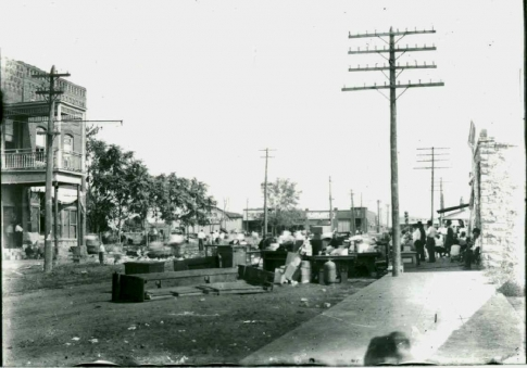 This photo was taken on Saturday August 19, 1911, after a fire destroyed much of the downtown area of Krebs.