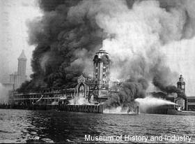 The Fireboat Duwamish fighting the 1914 Grand Trunk Pacific Dock fire