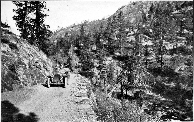 Traveling along the Lincoln Highway in earlier times.  Hey, where's the guardrail?