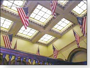 The flags illustrate the beautiful details on the ceiling of the old Butler County courthouse.