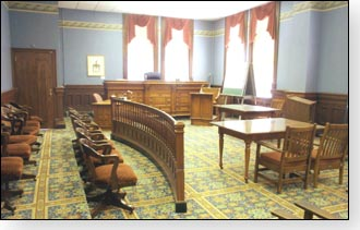 The courthouse has a historic courtroom. Weddings can be performed here.