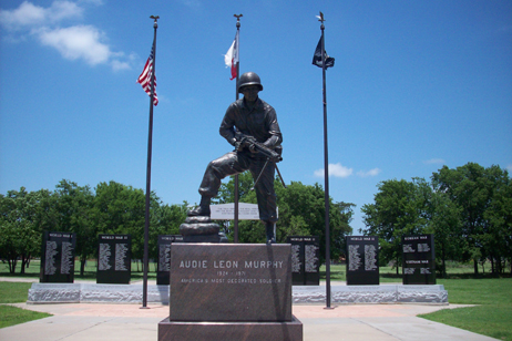 This statue of Audie Murphy is located adjacent to the museum.