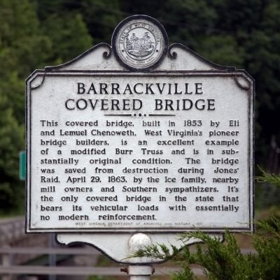 This historical sign was placed near the bridge in 1971. Image obtained from the Historical Marker Database.