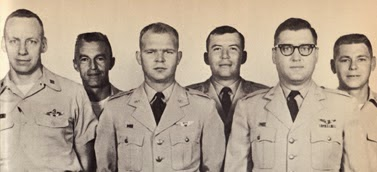 Pilot Major Willard Palm (front left), and Ravens (back row): Major Eugene Posa, Captain Oscar Goforth and Captain Dean Phillips.  Bruce Olmsted is center, John McKone is front right.