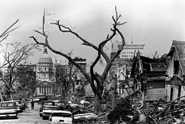 Destruction near downtown Topeka