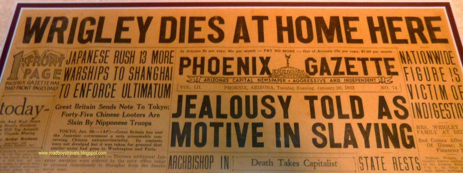 1932 Phoenix Gazette Paper announcing Wrigley's death.