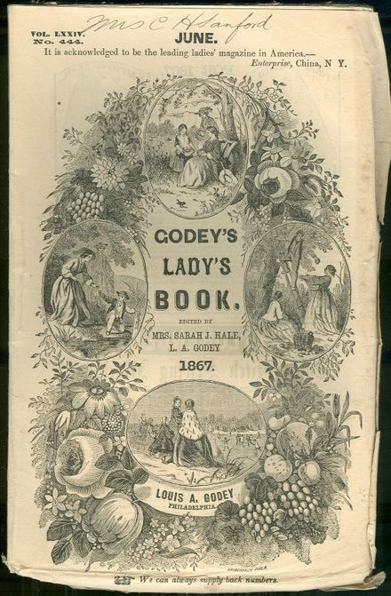 Cover from Godey's Lady's Book and Magazine in June of 1867