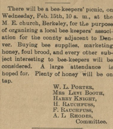 An announcement from 1893 advertising a beekeeper's picnic at a local church. Millie Booth's name can be seen on the committee list.