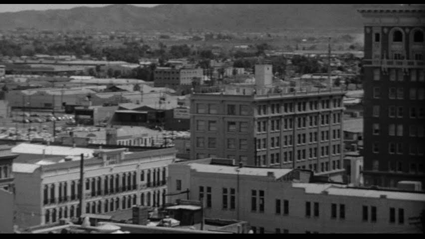 The Heard Building making its debut in the first few seconds of the 1960 Hitchcock thriller, Pyscho.