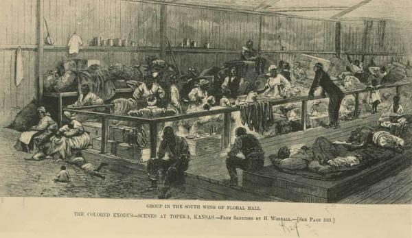 "1879 drawing in Harper's Weekly depicting the living quarters of ""Exodusters,"" the name given to African Americans who migrated to Kansas in the late nineteenth century."