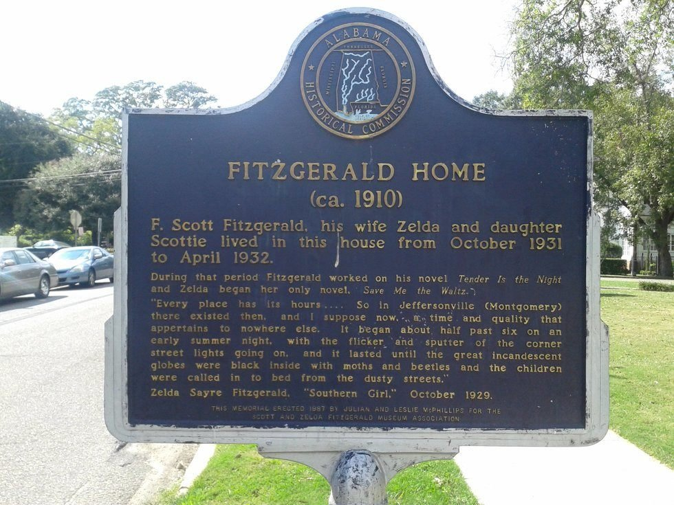 Historical Marker outside of the Fitzgerald Museum, indicating the occupation of Zelda, F. Scott and their daughter Scottie. Photo Courtesy: Gregory T. Janetka / Atlas Obscura