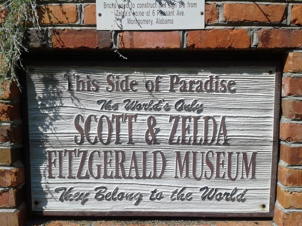 Official 'Welcome' Sign of The Fitzgerald Museum, made out of bricks from the demolished childhood home of Zelda. It features the title of F. Scott Fitzgerald's first novel, This Side of Paradise. Photo Courtesy: Gregory T. Janetka / Atlas Obscura