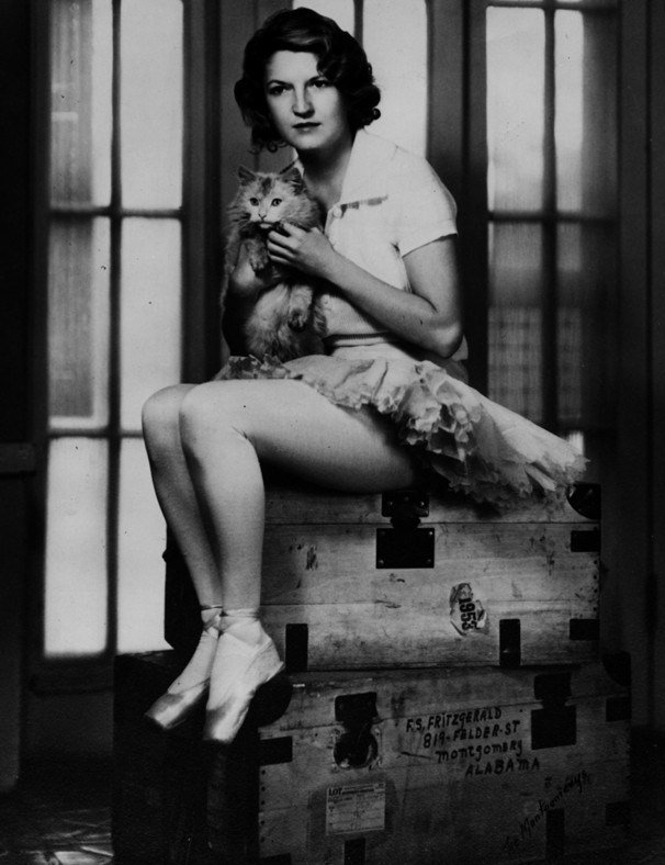 Portrait of Zelda Fitzgerald and cat, taken in their Montgomery home.