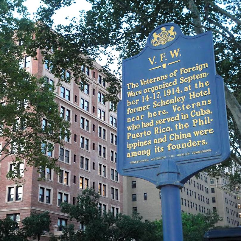 A historical plaque near the William Pitt Union in Oakland, site of the founding convention of the Veterans of Foreign Wars in 1914. (From Pittsburgh Post-Gazette, September 14, 2014.)