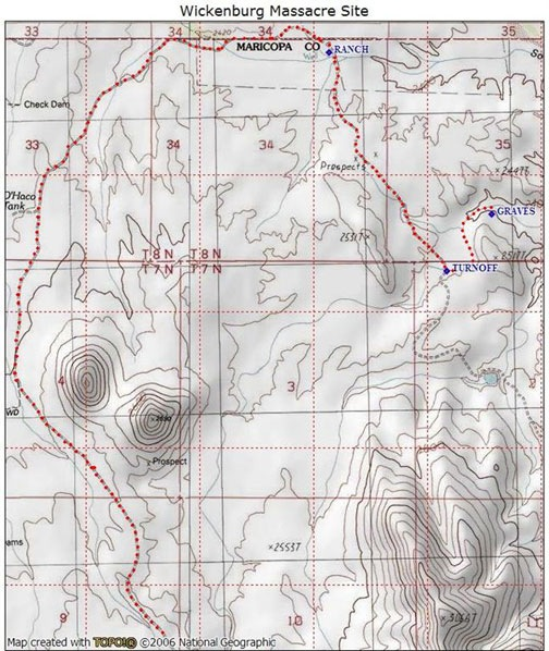 Topographical map with trail to grave site