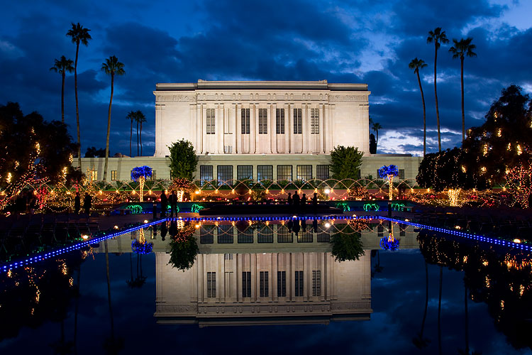 Mesa Temple during Christmas
