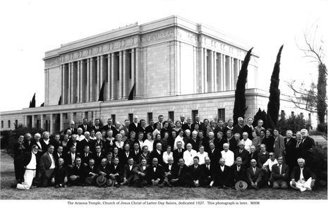 Photo taken during the 1927 dedication of temple