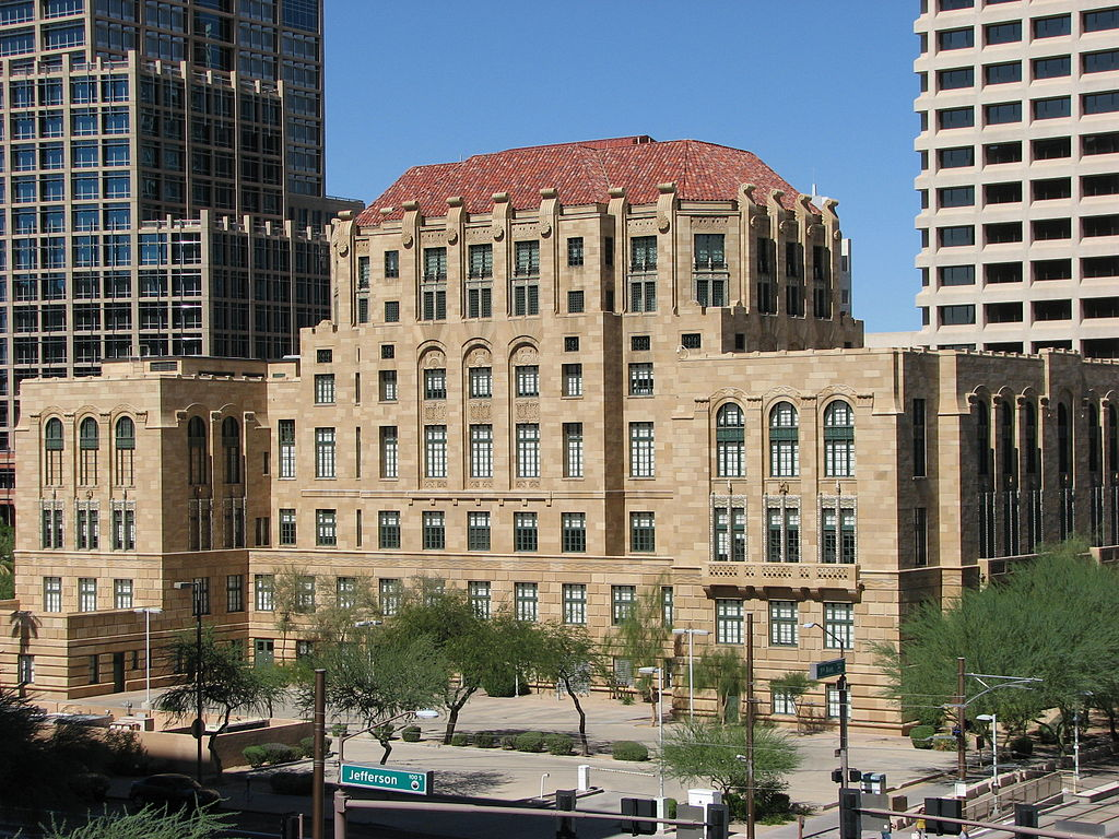 The Maricopa County Courthouse was built in 1929 to house City Hall and the Maricopa County government.