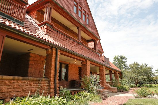 The beautiful, Colorado sandstone exterior of the mansion.