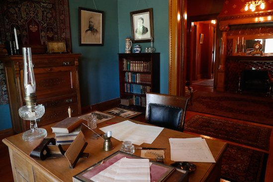 George W. Frank's library and desk.