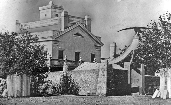 Eagle Gate Monument and Brigham Young home as seen in 1860
