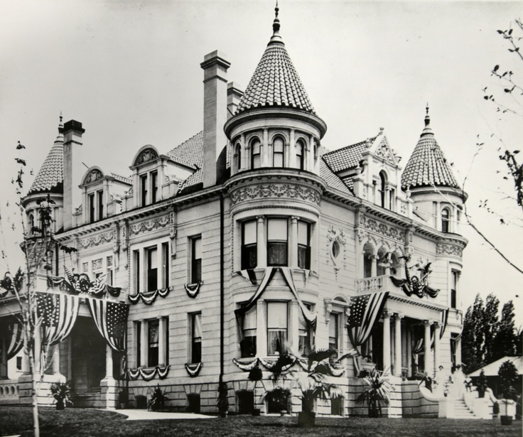 The Kearns Mansion decorated for Pres. Teddy Roosevelt's visit in 1903