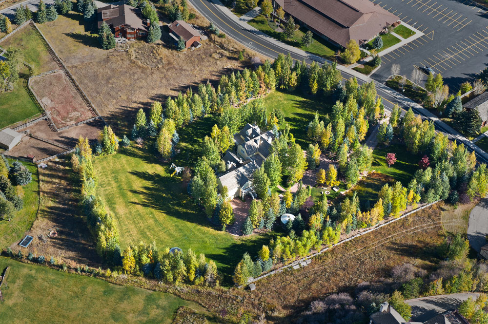 Aerial view of mansion grounds