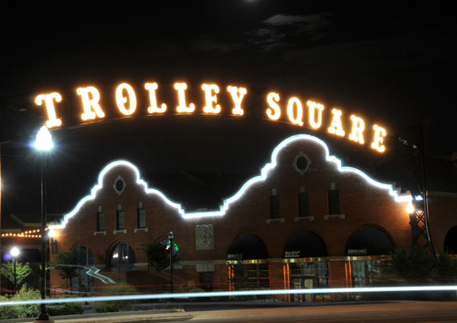 Trolley Square entrance at night