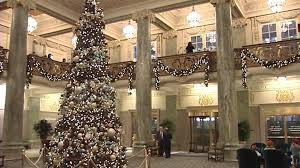 Main lobby at Christmas