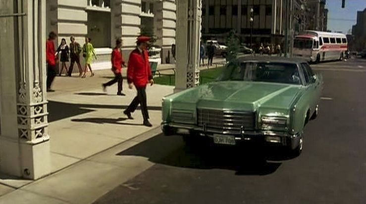 Scene from Harry in Your Pocket. The 1972 Lincoln is at the Hotel Utah entrance.