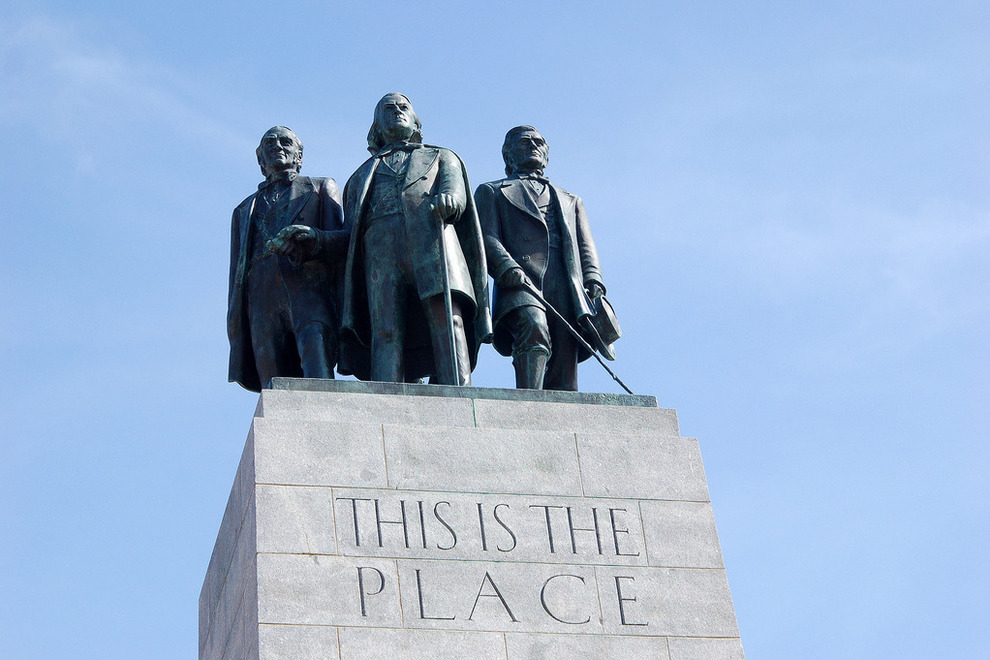 Top of the monument. The men depicted above are (L-R): Heber C. Kimball, Brigham Young and Wilford Woodruff. These 3 men formed the First Presidency of the LDS church at the time.