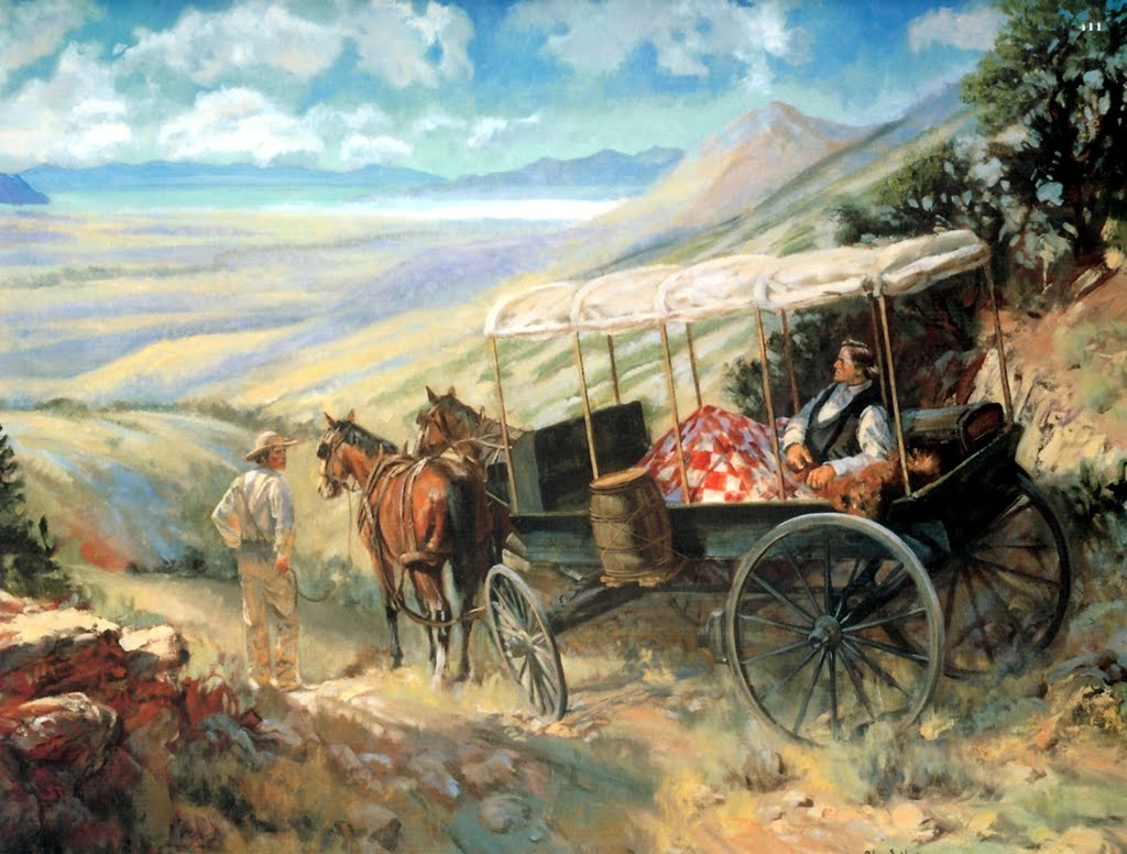Painting depicting Brigham Young making his announcement.