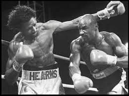 Marvin Hagler and Thomas Hearns during their fight at Caesars Palace, considered by many to be the greatest boxing bout of all time