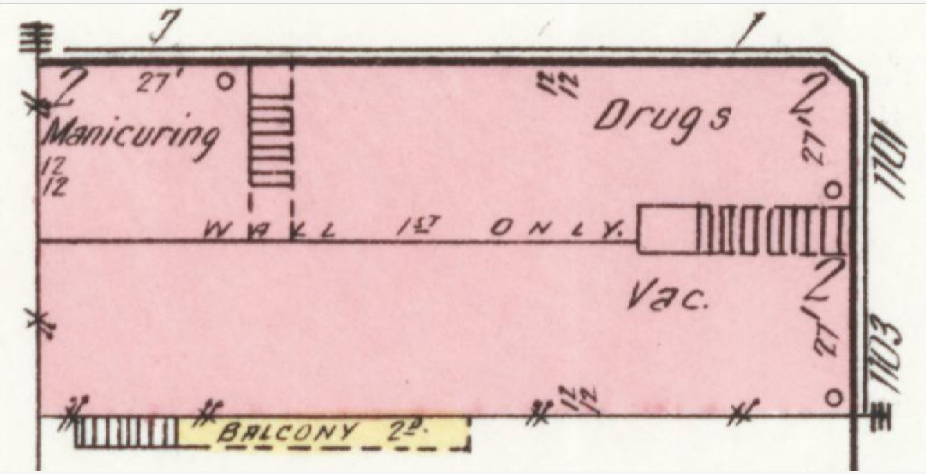 Stubbs Building on 1918 Sanborn map (Sanorn Map Company p. 7)