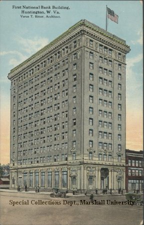 Postcard of the First National Bank, circa 1920